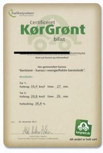 Certifikat fra Trafikstyrelsen.